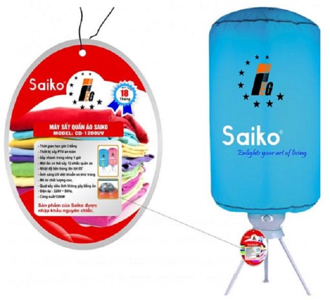 Máy sấy quần áo Saiko CD-1200UV Sự lựa chọn lý tưởng cho gia đình